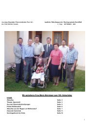 1 Wir gratulieren Frau Marie Steininger zum 100. Geburtstag Inhalt: