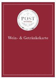 Weinkarte Wirtshaus Post