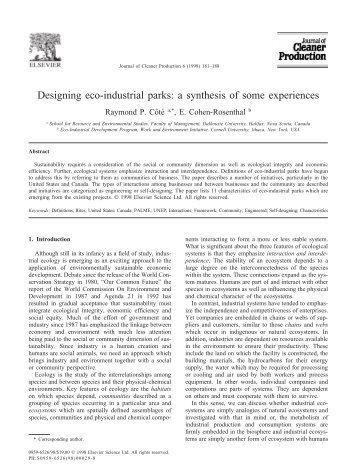 Designing eco-industrial parks: a synthesis of some experiences