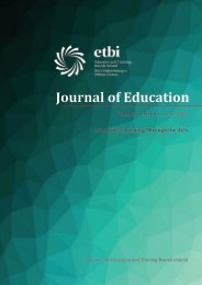 ETBI Journal of Education - Vol 3 Issue 1 - June 2021 (Creativity: Learning Through the Arts)