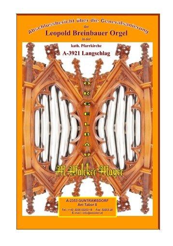 Die Leopold Breinbauer Orgel der Kath. Pfarrkirche ... - Walcker-Mayer