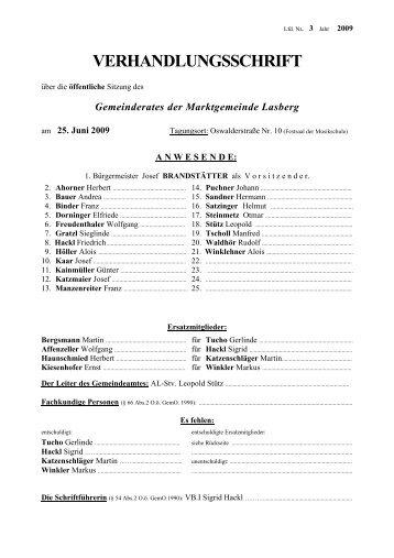 VERHANDLUNGSSCHRIFT - Lasberg