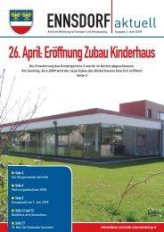 Montag, 18. Mai 2009 von 14 – 16 Uhr Ort - Gemeinde Ennsdorf