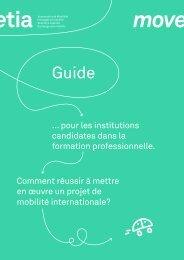 Guide pour les institutions candidates dans la formation professionnelle