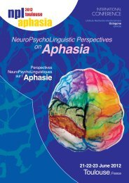 NeuroPsychoLinguistic Perspectives onAphasia 21-22-23 June 2012