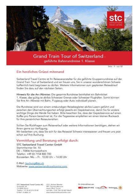 Reiseprogramm Grand Train Tour of Switzerland DE 2021