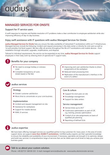 Onsite Services Brochure