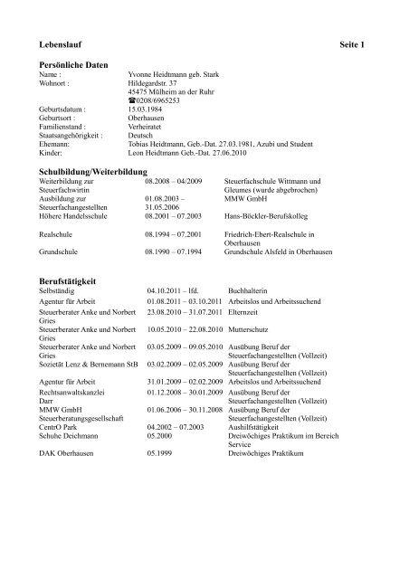 Lebenslauf Seite 1 Persönliche Daten Suche Buchhalter