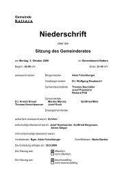 Gemeinde N atters Niederschrift