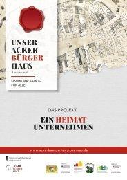 Broschüre Ackerbürgerhaus Bärnau 2021