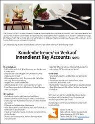 Kundenbetreuer/-in Verkauf Innendienst Key Accounts (100%)