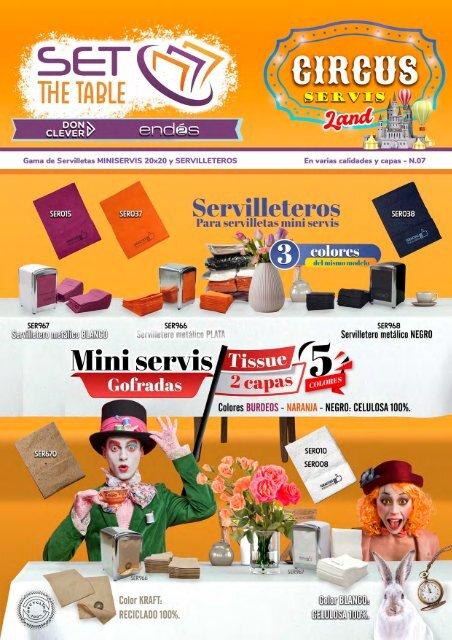 REVISTA 07 SET THE TABLE servilleteros, miniservis, 20x20, maxi servis, interplegadas, sultifo -  kraft, blanco y surtido de colores