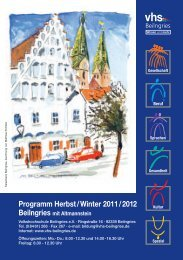 Programm Herbst / Winter 2011 / 2012 Beilngries ... - vhs Beilngries