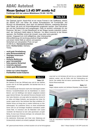 Umfassender Test Nissan Qashqai 1.5 dCi DPF acenta - ADAC