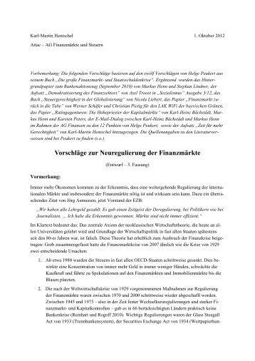 Vorschläge zur Neuregulierung der Finanzmärkte - Attac Berlin