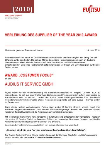 Laudation Supplier of the Year 2010