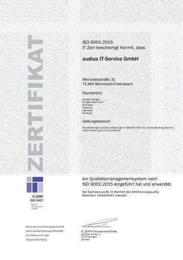 Zertifizierung ISO 9001:2015 audius IT-Service GmbH