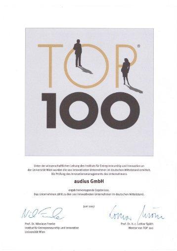 Urkunde TOP 100 Innovator 2007