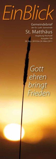 Gott ehren bringt Frieden EinBlick - Evangelisch-Lutherische ...