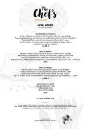 Chefs Kitchen Special Menu Spring-Summer 2021