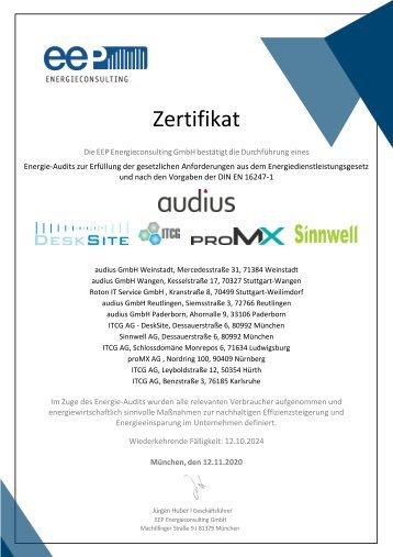 Zertifikat Energie-Audit für alle Standorte