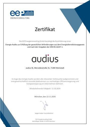 Zertifikat Energie-Audit für audius SE