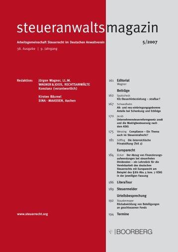 Steueranwaltsmagazin 5/2007 - Wagner-Joos Rechtsanwälte