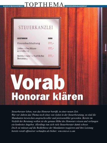 Honorar vorab klären - Mag. Stefan Lami