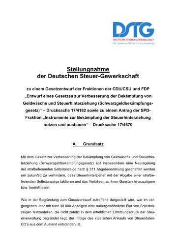 Stellungnahme der Deutschen Steuer-Gewerkschaft - Deutscher ...