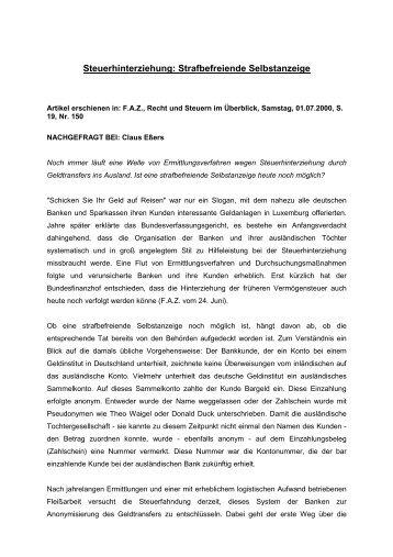 Steuerhinterziehung: Strafbefreiende Selbstanzeige - HLFP