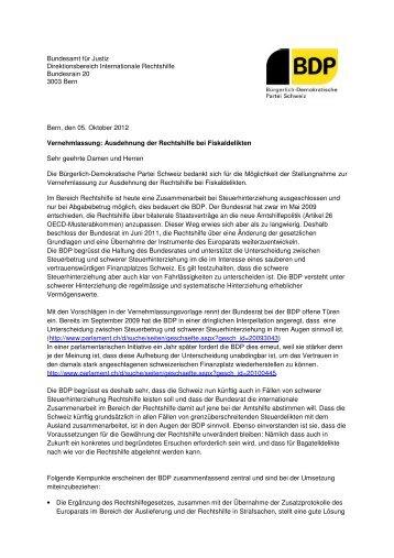 Ausdehnung der Rechtshilfe bei Fiskaldelikten - Bürgerlich ...