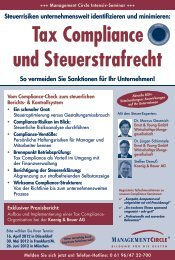 Tax Compliance und Steuerstrafrecht - Management Circle AG