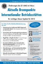 Aktuelle Brennpunkte Internationaler Betriebsstätten - Management ...