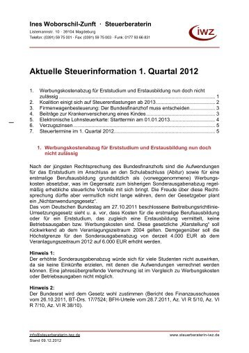 Aktuelle Steuerinformation 1. Quartal 2012 - Steuerberaterin Ines ...
