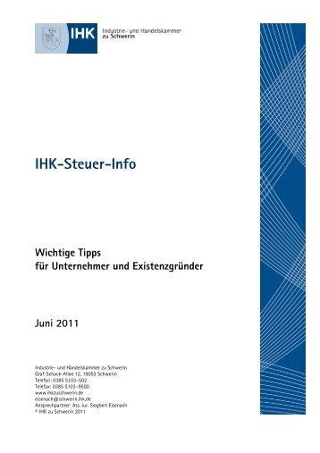 IHK-Steuer-Info Wichtige Tipps für Unternehmer und - IHK Schwerin