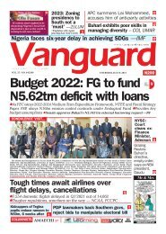 08072021 - Budget 2022: FG to fund N5.62trn deficit with loans