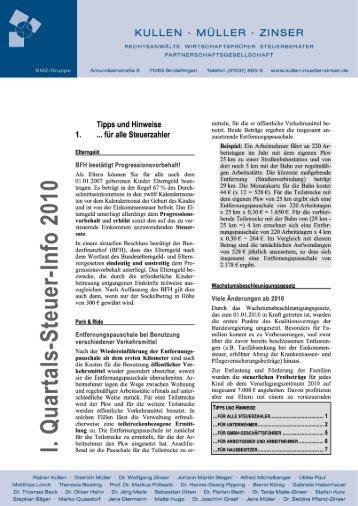 l. Quartals-Steuer-Info 2010 - Kullen Müller Zinser