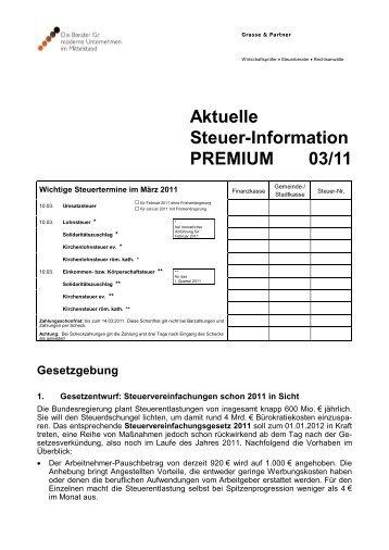 Aktuelle Steuer-Information PREMIUM 03/11 - Steuerberatung und ...