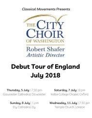 The City Choir of Washington: 2018 England Tour Program Book