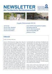 NEWSLETTER des Fachbereichs Rechtswissenschaft - Goethe ...