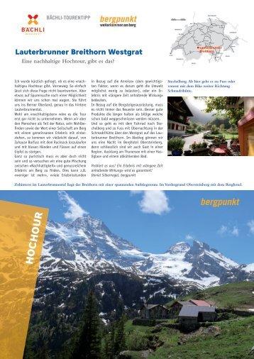 Tourentipp 08.2021 –Lauterbrunner Breithorn Westgrat