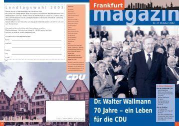 Dr. Walter Wallmann 70 Jahre – ein Leben für die CDU