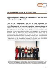 MEDIENINFORMATION – 9. Dezember 2009 - e7 Energie Markt ...