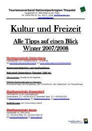 Kultur und Kultur und Freizeit Freizeit Freizeit - Thayatal.