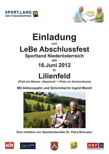 Programm und Informationen zum LeBe Abschlussfest ... - Lilienfeld