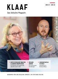KLAAF Das kölsche Magazin Aug 21 - Jan 22