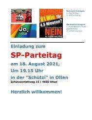 Einladung Parteitag 18. August in Olten