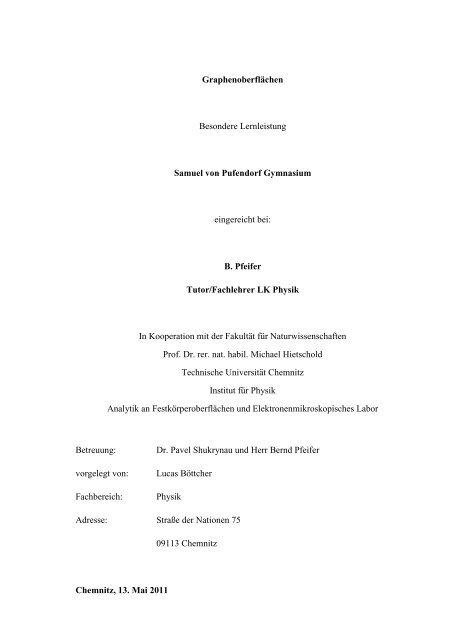 Graphenoberflachen Besondere Lernleistung Samuel Von Pufendorf
