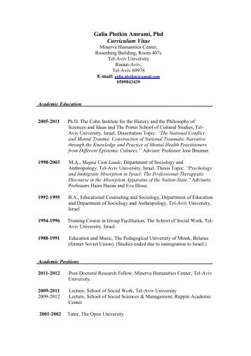 Galia Plotkin Amrami, Phd Curriculum Vitae - Buchmann Law Faculty