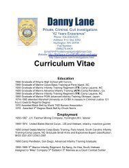 Curriculum Vitae Education - Danny Lane